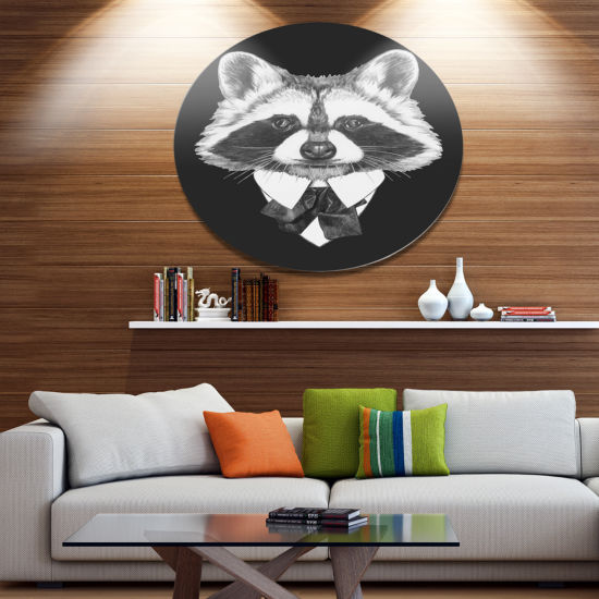 Designart Funny Raccoon in Suit and Tie Disc Animal Metal Circle Wall Art