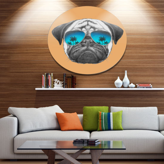 Designart Funny Dog with Blue Glasses Disc AnimalMetal Circle Wall Art