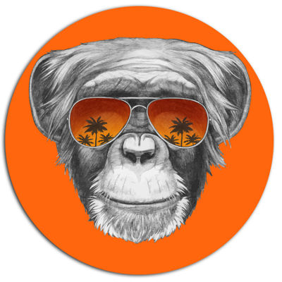 Designart Monkey with Mirror Sunglasses Disc Animal Metal Circle Wall Art