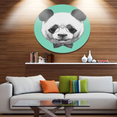 Designart Panda with Glasses and Bow Tie Disc Animal Metal Circle Wall Art