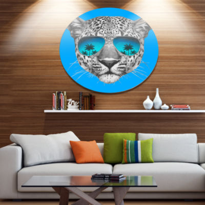 Designart Leopard with Mirror Sunglasses Disc Animal Metal Circle Wall Art