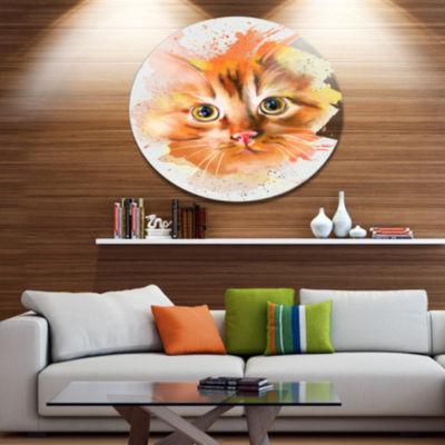 Designart Lovely Red Watercolor Cat Disc Animal Metal Circle Wall Art