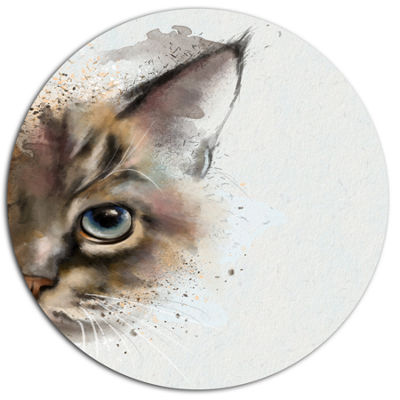 Designart Cat Half Face Watercolor Disc Animal Metal Circle Wall Art