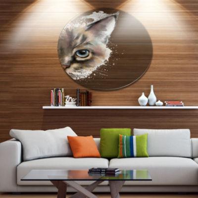 Designart Cat Half Face Watercolor Disc Animal Metal Circle Wall Art