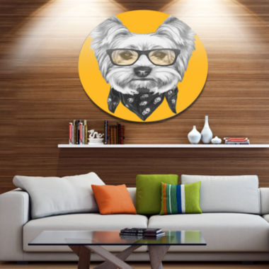 Designart Funny Terrier Dog with Glasses Disc Animal Metal Circle Wall Art