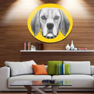 Designart Funny Beagle Dog with Collar Disc AnimalMetal Circle Wall Art