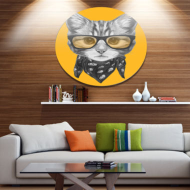 Designart Funny Cat with Glasses and Scarf Disc Animal Metal Circle Wall Art