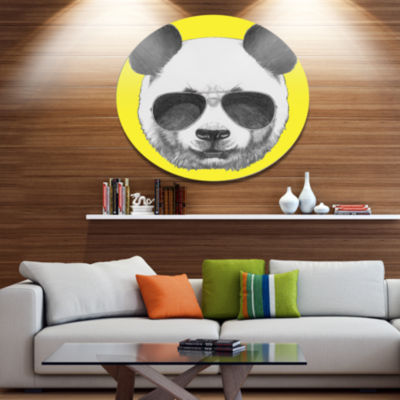 Designart Funny Panda with Sunglasses Disc AnimalMetal Circle Wall Art