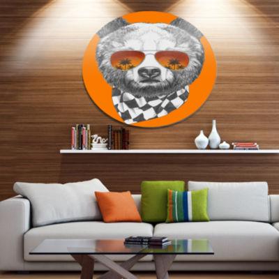 Designart Funny Bear with Sunglasses Disc Animal Metal Circle Wall Art