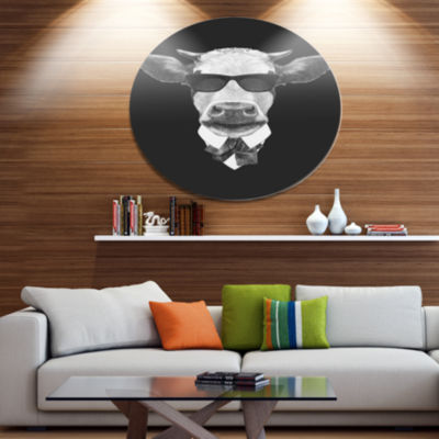 Designart Funny Cow in Suit with Glasses Disc Animal Metal Circle Wall Decor