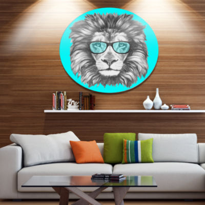 Designart Funny Lion with Blue Glasses Disc AnimalMetal Circle Wall Decor