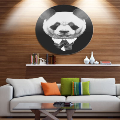 Designart Funny Panda in Suit and Tie Disc AnimalMetal Circle Wall Decor