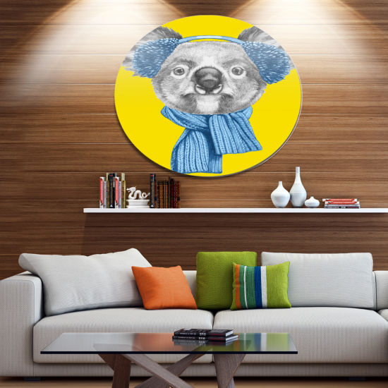 Designart Koala with Scarf and Earmuffs Disc Animal Metal Circle Wall Decor