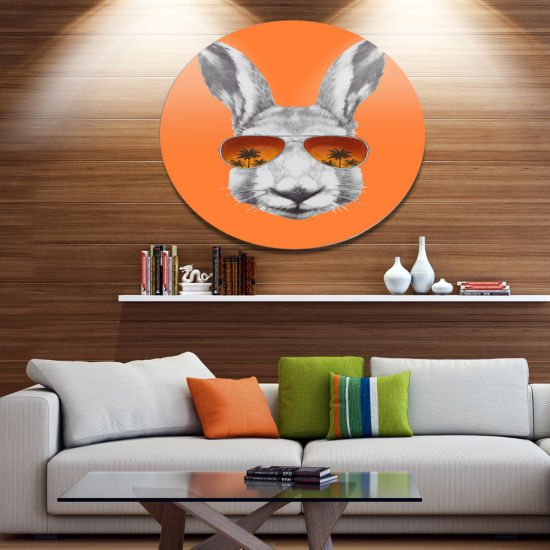Designart Funny Rabbit with Sunglasses Disc AnimalMetal Circle Wall Decor