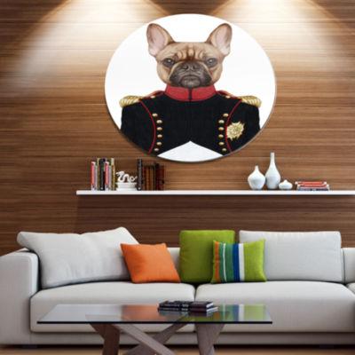 Designart French Bulldog in Military Uniform DiscAnimal Metal Circle Wall Decor