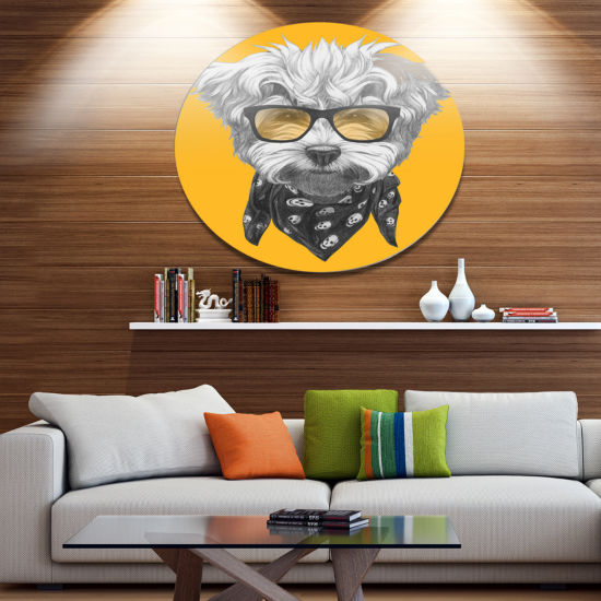 Designart Maltese Poodle with Sunglasses Disc Animal Metal Circle Wall Decor