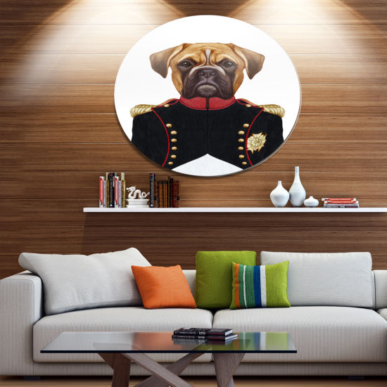 Designart Boxer Dog in Military Uniform Disc Animal Metal Circle Wall Decor