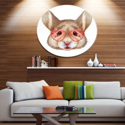 Designart Funny Mouse with Heart Glasses Disc Animal Metal Circle Wall Decor