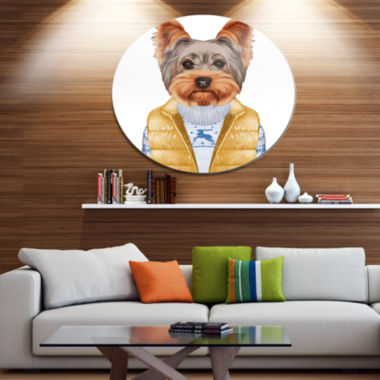 Designart Terrier in Down Vest and Sweater Disc Animal Metal Circle Wall Decor