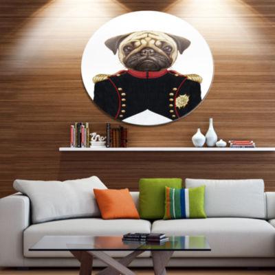 Designart Pug Dog in Military Uniform Disc AnimalMetal Circle Wall Decor