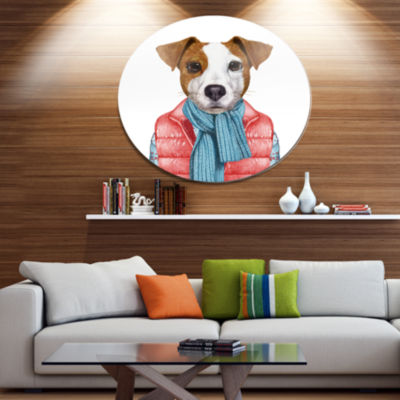 Designart Funny Jack Russell in Formal Suit Disc Animal Metal Circle Wall Decor