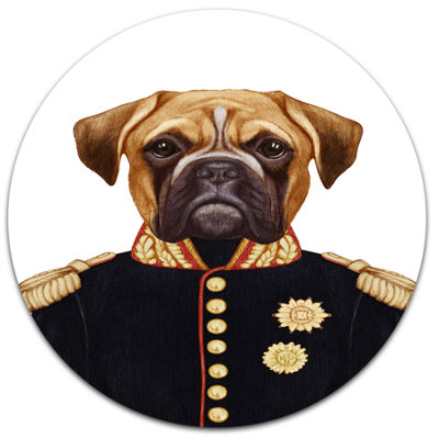 Designart Funny Boxer Dog in Military Uniform DiscAnimal Metal Circle Wall Decor