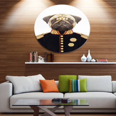 Designart Funny Pug Dog in Military Uniform Disc Animal Metal Circle Wall Decor
