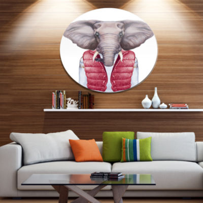 Designart Elephant in Vest and Sweater Disc Contemporary Animal Metal Circle Wall Decor