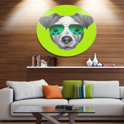 Designart Jack Russell in Green Glasses Disc Contemporary Animal Metal Circle Wall Decor