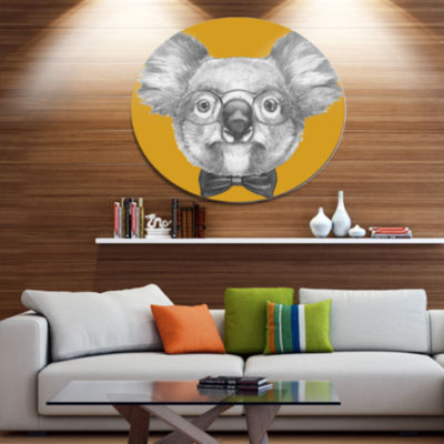 Designart Koala with Glasses and Bow Tie Disc Contemporary Animal Metal Circle Wall Decor