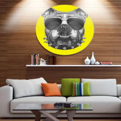 Designart Funny English Bulldog with Collar Disc Contemporary Animal Metal Circle Wall Decor