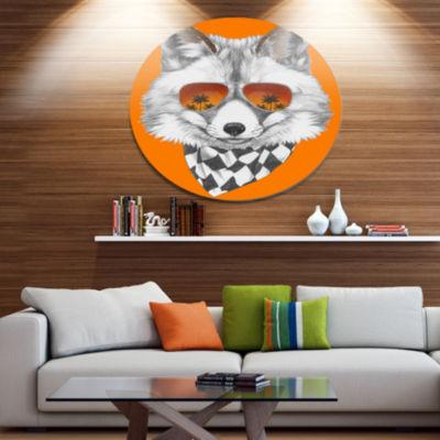 Designart Fox with Mirror and Sunglasses Disc Contemporary Animal Metal Circle Wall Decor