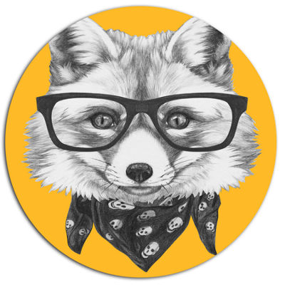Designart Funny Fox with Formal Glasses Disc Contemporary Animal Metal Circle Wall Decor