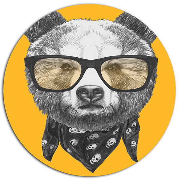 Designart Funny Bear with Formal Glasses Disc Contemporary Animal Metal Circle Wall Decor