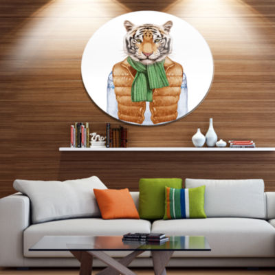 Designart Tiger in Vest and Sweater Disc Contemporary Animal Metal Circle Wall Decor