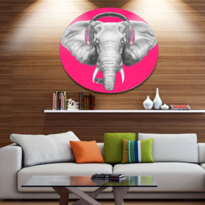 Designart Elephant with Headphones Disc Contemporary Animal Metal Circle Wall Decor
