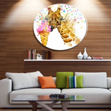 Designart Giraffe Eating Ice Cream Watercolor DiscContemporary Animal Metal Circle Wall Decor
