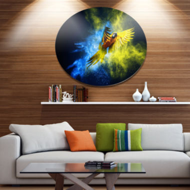 Designart Flying Parrot over Color Burst Disc Contemporary Animal Metal Circle Wall Decor