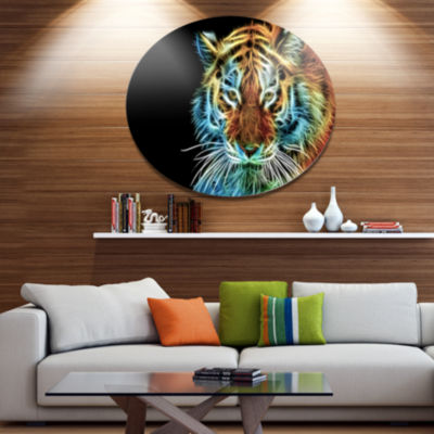 Designart Illuminating Tiger Head View Disc Contemporary Animal Metal Circle Wall Decor