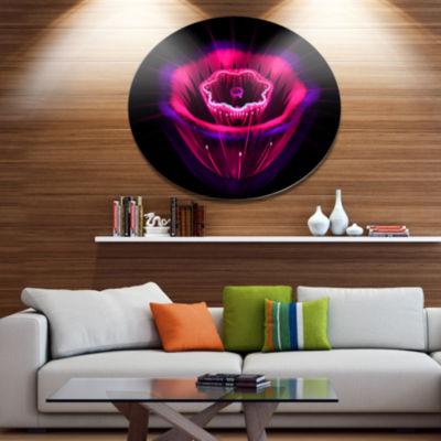 Designart Abstract Magenta Fractal Flower Disc Floral Metal Circle Wall Decor