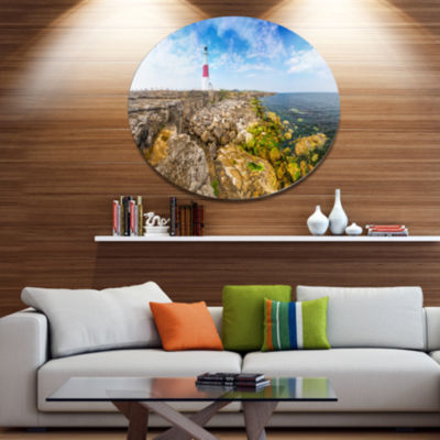 Designart Portland Bill Lighthouse Disc LandscapeMetal Circle Wall Decor