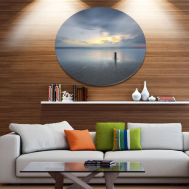 Designart Stormy and Dark Sea Sunset Disc SeascapeMetal Circle Wall Decor