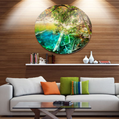 Designart Colorful Lake with Tree Trunks Disc Landscape Metal Circle Wall Decor