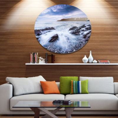 Designart Waves Crashing At Beach Disc Seascape Metal Circle Wall Decor