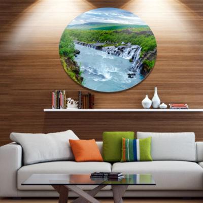 Designart Hraunfossar Waterfall Iceland Disc Landscape Metal Circle Wall Decor