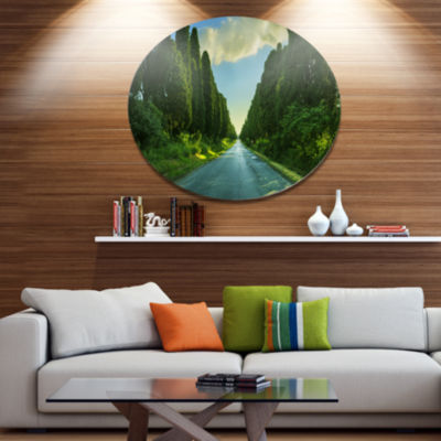 Designart Straight Cypress Trees Boulevard Disc Landscape Metal Circle Wall Decor