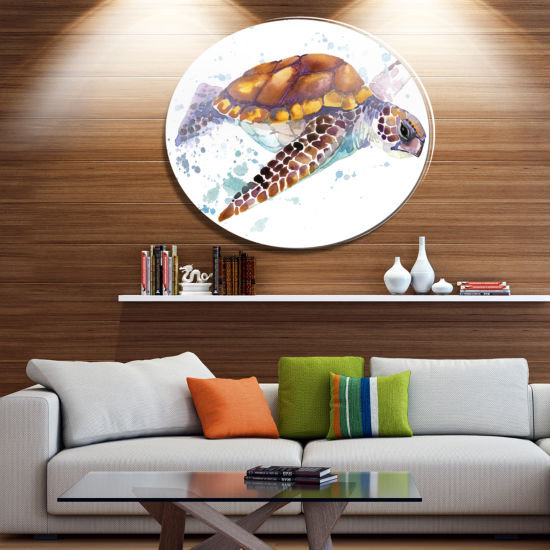 Designart Brown Sea Turtle Watercolor Disc Contemporary Animal Metal Circle Wall Decor