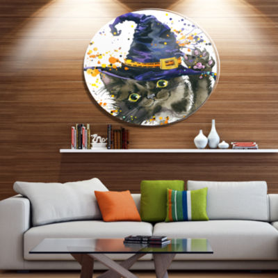 Designart Halloween Cat and Witch Hat Disc Contemporary Animal Metal Circle Wall Decor