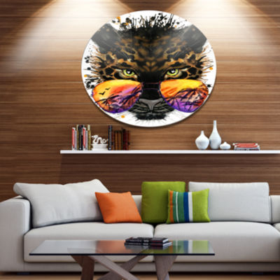 Designart Funny Jaguar with Sunglasses Disc Contemporary Animal Metal Circle Wall Decor