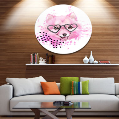 Designart Pink Dog with Heart Glasses Disc Contemporary Animal Metal Circle Wall Decor